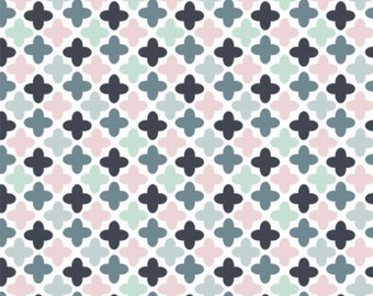 Geo, blue, pink, black, Floral Menagerie, 21192305, col 01, Camelot Fabrics, 100% Cotton