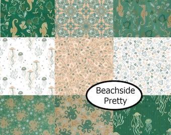 Bundle, 9 prints, Beachside Pretty, Camelot Fabrics, 100% Cotton, quilt cotton