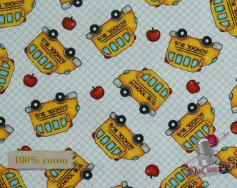Bus, School Zone, Studio E, 4135, multiple quantity cut in one piece, 100% Cotton