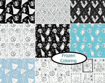 Bundle, 9 prints, Disney, Reine des Neiges, Frozen Coloring Collection, 100% Cotton, quilt cotton
