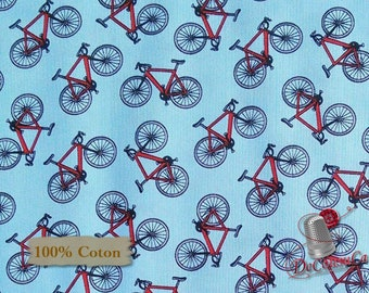 Bike, Happy Camper, by City Art Studio, 1337, Henry Glass & Co, multiple quantity cut in 1 piece, 100% Cotton
