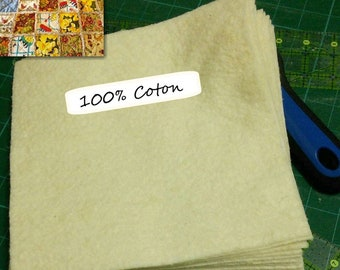 10 squares, or 10 Jelly Rolls, Batting, 100% cotton for indoor quilts, wadding, fleece, cotton kodell, flock, thin, quilted at 4 to 6 inches