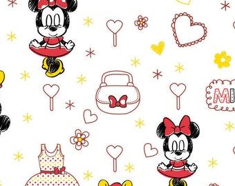 Disney, Minnie, white, 85270106, col 3, Mickey Mouse et Friends, Camelot Fabrics, , 100% Cotton
