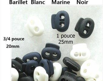 8 Cord Lock Stopper, 20mm, 25mm, 2 hole, White, Navy, Black, SC1