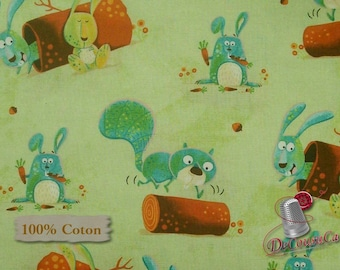 Forest animal, Woodsy Wonders, Henry Glass & Co, Pattern 1001, multiple quantity cut in one piece, 100% Cotton