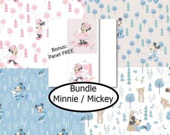 4 prints, Minnie & Mickey, Camelot Fabrics, bundle, 1 of each Bonus: Panel FREE