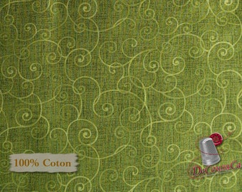 Green, Olive, Whimsy Basic, Henry Glass & Co, Pattern 8945, multiple quantity cut in one piece, 100% Cotton, (Reg 2.99-17.99)