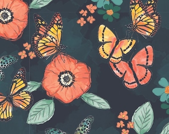 END OF BOLT, Flower, butterfly, Monarch Grove, 26170503, col 02, 100% Cotton, (Reg 2.99-17.99)