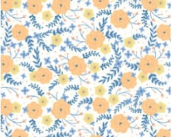 Flowers, orange, blue, white background, Do what you love, 2241501, 01, Camelot Fabrics, cotton, cotton quilt, cotton designer