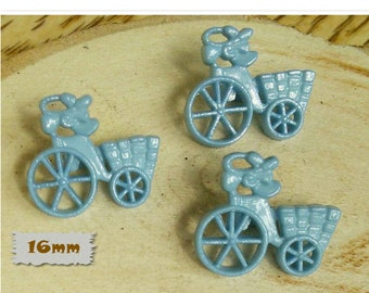 3 Buttons, 16mm, tricycle with basket, blue, Vintage, 1980s, GR05, (Reg 1.80)