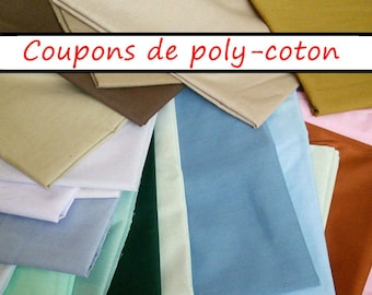 3 coupons d'un yard, Broadcloth, 65-35 polyester-cotton, various colors, same color on both sides,  (Reg 14.97)
