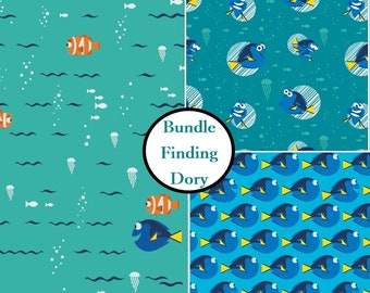 "3 FE, 9""X22"", 3 prints, Disney, Finding Dory, Camelot Fabrics, 1 of each print"