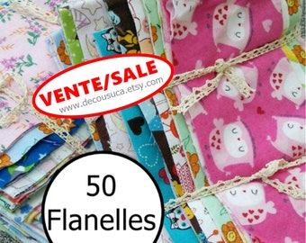 50 pieces, Flannel, differents prints, excellent quality, FQ,  FE, square, around 5 yards, (Reg 75.00)