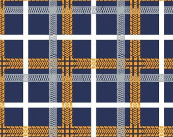 Tire tracks, plaid, navy, 27190104, col 03, On the Move, Camelot Fabrics, cotton, cotton quilt, cotton designer