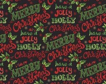 Christmas Floral, Sharon Lee, Merry Christmas, Édition Fabric, multiple quantity cut in one piece, 100% Cotton