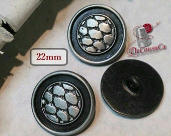 3 Buttons, silver and black, 22mm, metal button, vintage, BM127