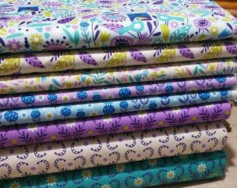 Bundle, 8 motifs, Springs Birds of Camelot Fabrics, quilt cotton