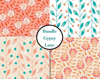 Bundle, 4 prints, 1 of each print,  Gypsy Lane, Camelot Fabrics
