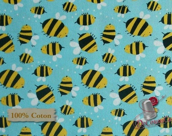 Bee, turquoise, Free Spirit, multiple quantity cut in one piece, 100% Cotton, (Reg 2.99-17.99)