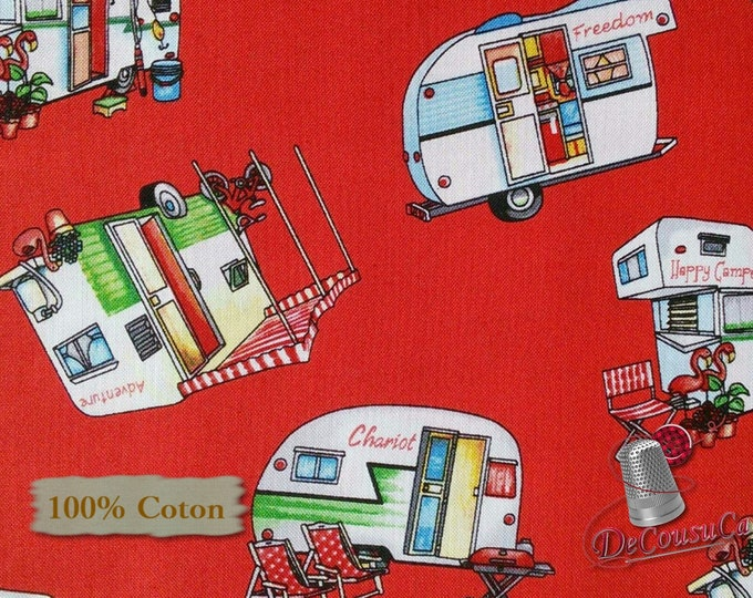 Featured listing image: Camping, red, Happy Camper, by City Art Studio, 1336, Henry Glass & Co, multiple quantity cut in 1 piece, 100% Cotton