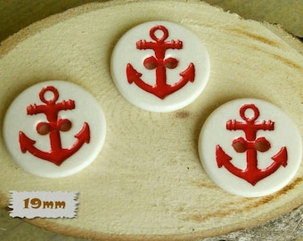 3, Buttons, 19mm, Anchor, Red, White Background, 2 holes, Casein, Vintage, 1980, GR04