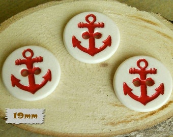 3 + 3 = 6 Buttons, 19mm, Anchor, Red, White Background, 2 holes, Casein, Vintage, 1980, GR04