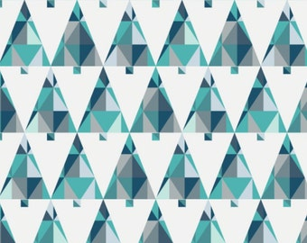 Triangle, trees, blue, 61170105, Oh What Fun, Camelot Fabrics, multiple quantity cut in one piece, 100% Cotton