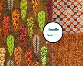 Bundle, 3 prints, Autumn, quilt cotton, cotton designer, 100% cotton