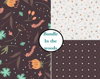3 prints, In the woods, Camelot Fabrics, bundle, 1 of each print, 100% Cotton