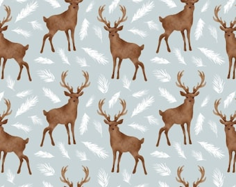 Oh Deer, blue-green, 26180204J, col 01, Camelot Fabrics, 100% Cotton, (Reg 2.99-17.99)