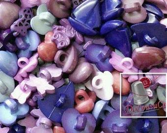 25 Fancy buttons, Blue, llilac, mauve, dog, turtle, tulip, cherry, frog, bear, boat, heart, etc., BF60,
