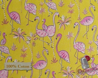 Flamingo, mustard, Free Spirit, multiple quantity cut in one piece, 100% Cotton, (Reg 2.39-17.29)