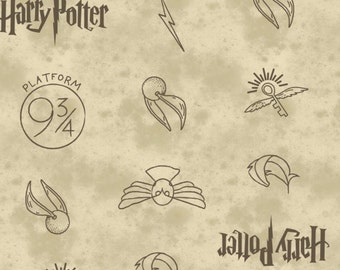 Harry Potter, HP Symbols, 23800137, col 01, Camelot Fabrics, cotton, cotton quilt, cotton designer