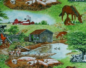 Farm Life, 8002, Elizabeth's Studio, 100% Cotton