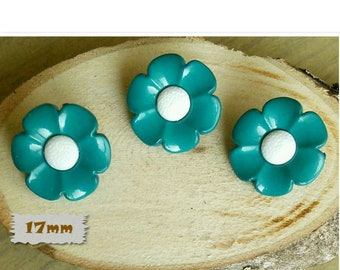 3 buttons, 17mm, flower, teal, center white, plastic, 1980, vintage, GR04, (Reg 3.60)