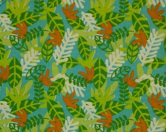 Flower, green, orange, blue, Édition Fabric, multiple quantity cut in one piece, 100% Cotton