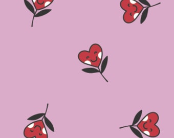 Small red smile hearts, pink background, XOXO, 21190705, col 02, Camelot Fabrics, cotton, cotton quilt, cotton designer