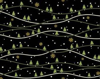 Fir tree, black background, 9103, Andover, cotton, cotton quilt, cotton designer