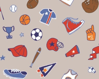 Tossed Equipment Outlines, All Star Sports, 61190204, col 02, Camelot Fabrics, cotton, cotton quilt, cotton designer