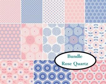 Bundle, 13 FQ, or 13 X 1/4 yard, or 13 X 1/2 yard, 1 of each, Rose quartz, Camelot Fabrics, 100% cotton, (Reg 25.94 - 103.74)