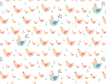 Chickens in Peach, 21170703, 01, Cluck, Moo, Oink, Camelot Fabrics, 100% Cotton, quilt cotton
