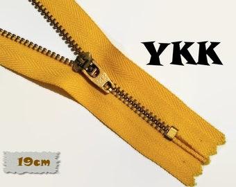 YKK, 19cm, Zipper, Cursor 45, Mustard, 7 1/2 Inch, Metal, Zipper, Non-Detachable, vintage, 1980, Z07,0 (Reg 2.89)