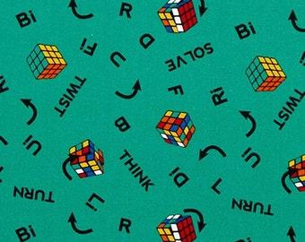 Cube, Rubiks, 47010101, col 03, I Love Rubiks, Twist & Turn, Camelot Fabrics, cotton, cotton quilt, cotton designer