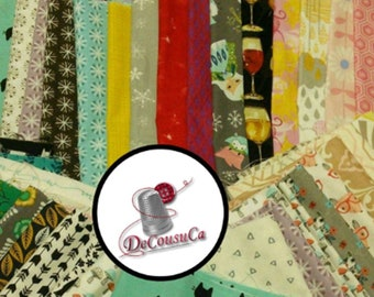 50 Scraps, FE, FQ,  1/4 yard and more, Cotton Designer, for small projects, quilting, photo by way of example