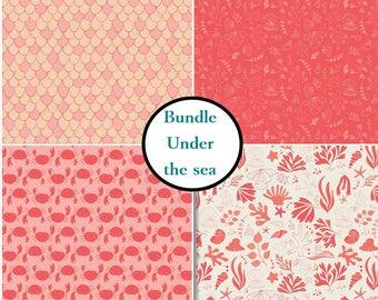 4 prints, Under the sea, Crabs, fischs, pink chaï, white, corail, Camelot Fabrics, Bundle, 1 of each print, (Reg 15.96 - 71.96)