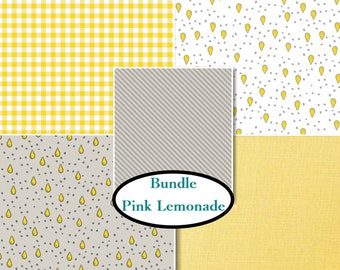 END OF BOLT, Kit 5 prints, Pink Lemonade, Camelot Fabrics, 1 of each print, Bundle,