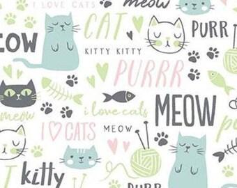 WHITE, Cat, TEXT, Purrfect Day, 9902, Riley Blake, cotton quilt, cotton designer