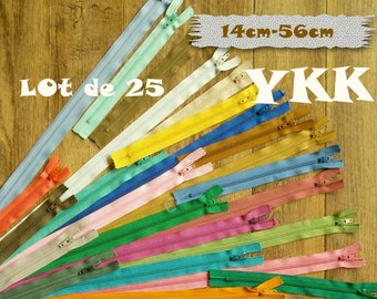 YKK, Kit 25 zippers, 14cm to 56cm, Zipper, Nylon, Slider # 3, Vintage, 1980s, for Clutches, Clothing, Design, 25YKK, (Reg 34.50)