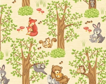 Forest animal, 2160-11, Hugs and Love, Henry Glass & Co, 100% Cotton