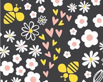 Flower, Bee, black, 41170202, col 01, Bee Youtiful, Camelot Fabrics, 100% Cotton, (Reg 2.99-17.99)